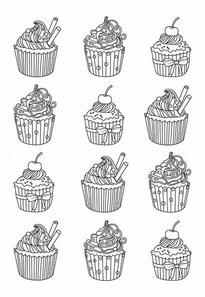 Coloring Pages Adult Easy Adults Cupcake Cupcakes