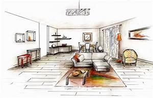 Dessin Intérieur Maison : salon dessin perspective ~ Preciouscoupons.com Idées de Décoration