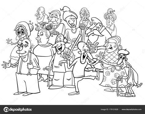 Kleurplaten Voor Bejaarden by Senior Tekens Groeperen Tekenfilm Kleurplaten Boek