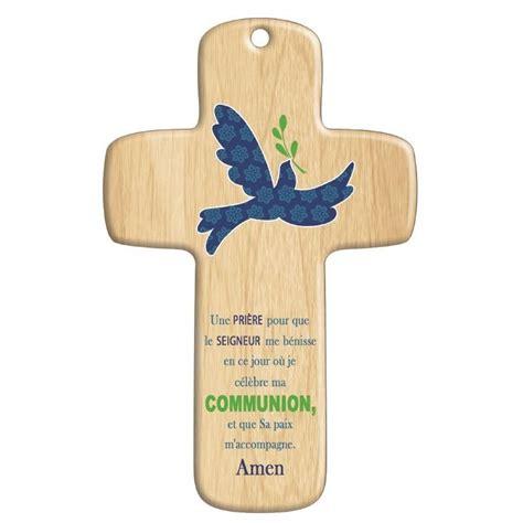 cadeau de communion croix bois moderne paix comptoir