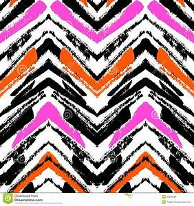 Multicolor Hand Drawn Pattern With Zigzag Lines Stock