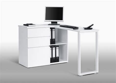 Bureau Informatique D'angle Design Avec Rangement Blanc