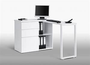 Meuble D Angle Moderne : bureau informatique d angle design avec rangement blanc ~ Teatrodelosmanantiales.com Idées de Décoration