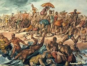 Beach Scene Coney Island Artwork By Reginald Marsh Oil