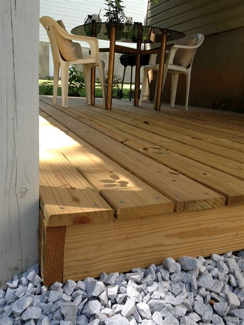 aprons  stilletos diy ground level deck