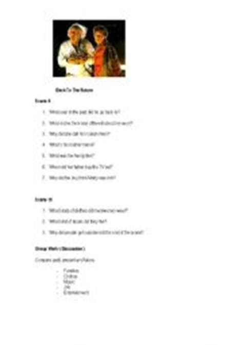 worksheets back to the future