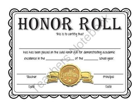 Free Honor Roll Certificates