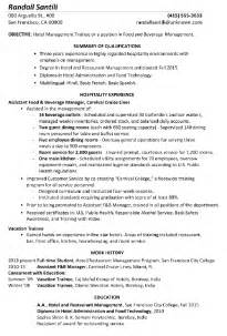 hotel experience resume format resume sle hotel management trainee