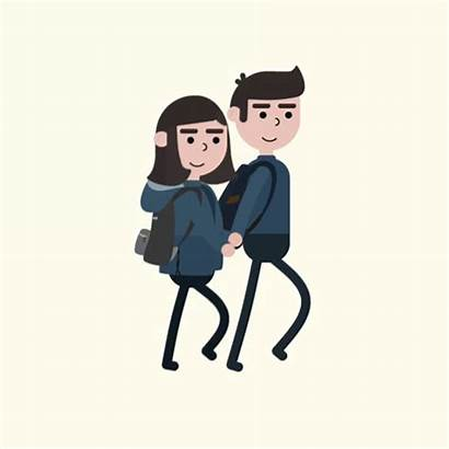 Walking Couple Animation Loop Student Reference Graphics