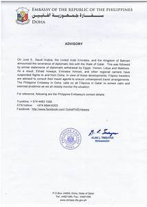 Phil. Embassy of Doha Issues Advisory on Severance of ...