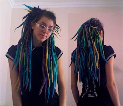 lain wearing double ended wool dreads  criss cross