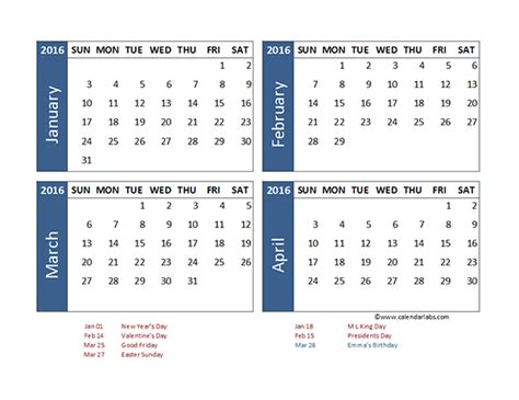 Printable 2015 Calendar 4 Month Per Autos Post 2015 Four Month Per Page Calendar Templates Autos Post