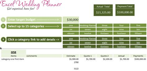 excel wedding planner template  today