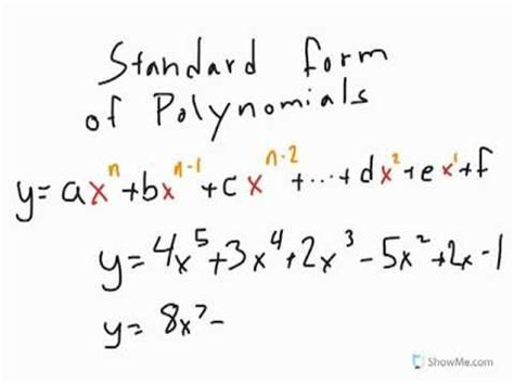 Standard Form Of Polynomials Youtube