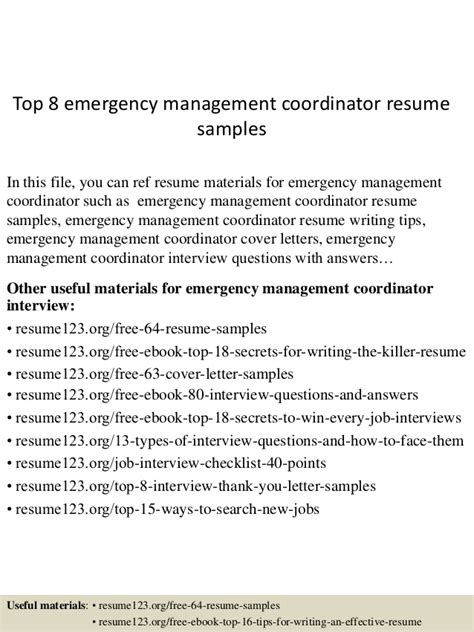 Emergency Manager Resume by Top 8 Emergency Management Coordinator Resume Sles