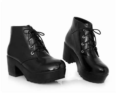New Womens Punk Rock Black&white Lace Up Platform Heels