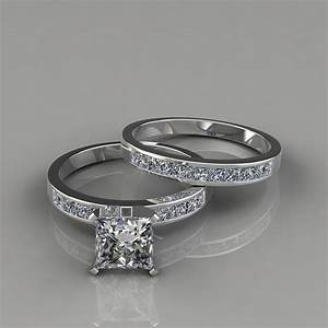 princess cut engagement ring and wedding band bridal set With ring and wedding band