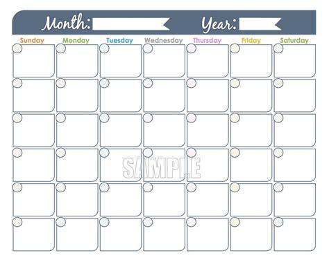 monthly calendar printable undated editable
