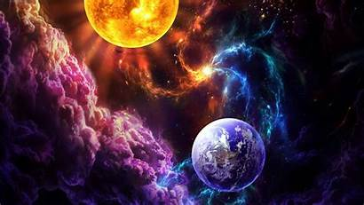 Earth Sun Abstract Wallpapers Space 3d Nebula