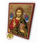 Christ Angels Jesus Hagiography Icon Wood Natural