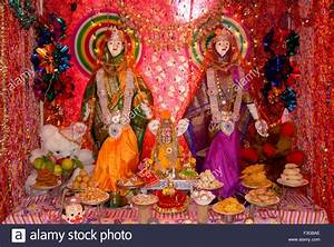 Two idols of goddess Gauri with Parvati richly decorated