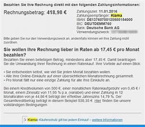 Kauf Auf Rechnung Klarna : online einkaufen und in raten bezahlen ~ Themetempest.com Abrechnung