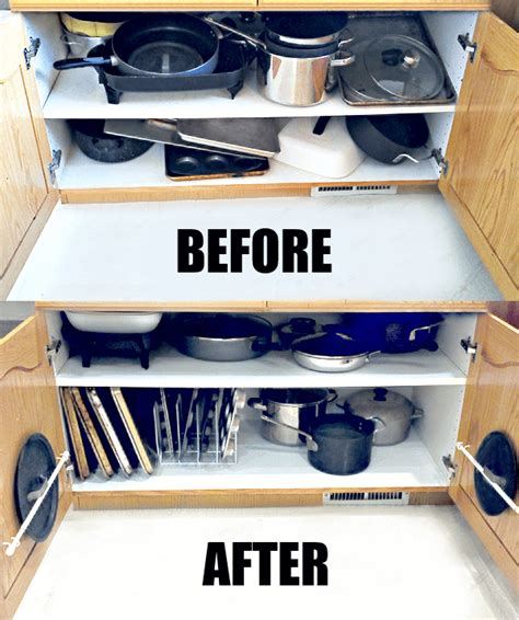 organizing pots and pans in kitchen cabinets organizing the dreaded pots and pans cabinet 183 one 9673