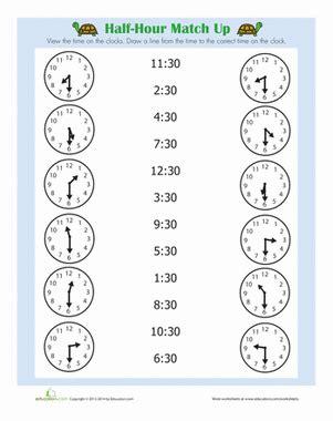half hour worksheet education com