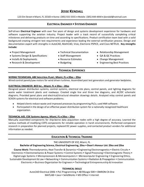 Engineering Resume Template by 11 Electrical Engineer Resume Exles Sle Resumes