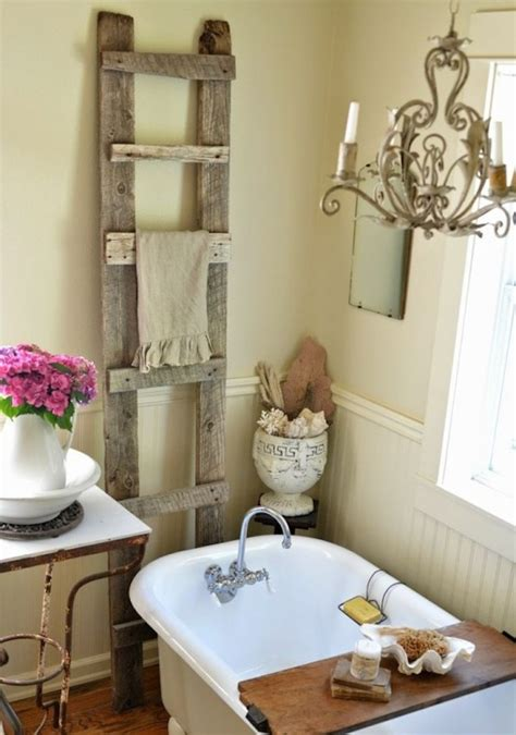 shabby chic bathroom wooden ladder adds a country feel to this shabby chic bathroom decoist