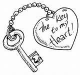 Coloring Key Sheet Drawing Holder Lock Heart Boyfriend Drawings Loved Skull Draw sketch template