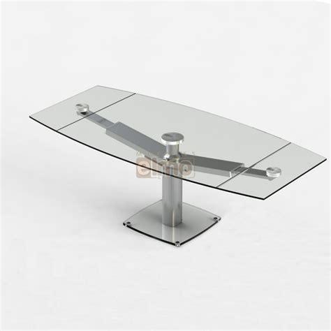 table de cuisine à rallonge table repas moderne extensible pied acier verre