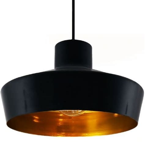 black metal ceiling pendant light fitting with metallic