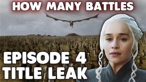 title leak game  thrones season  episode