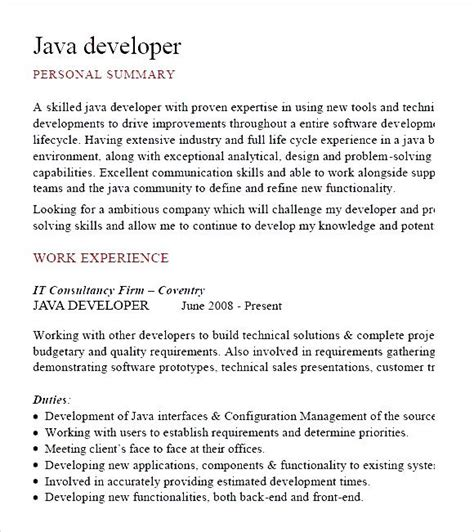 java developer cv template pdf free sles exles
