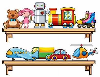 Toys Shelves Many Graphics Different Types Vector