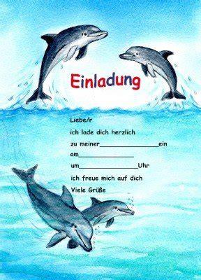 einladungskarten delfine fuer kindergeburtstag mottoparty