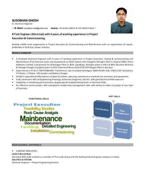 resume for experienced electrical design engineer susobhan resume electrical engineer with 4 years of