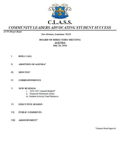 class meeting agenda