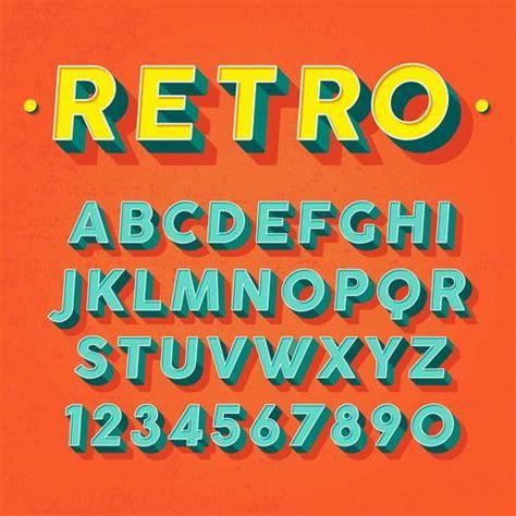 retro 3d font vector download free vector art stock graphics images