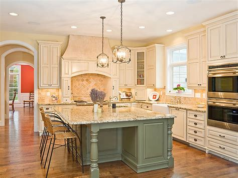 green kitchen walls with white cabinets kitchens with white cabinets and gray island green
