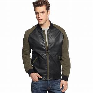 Lyst - Guess Coated Bomber Jacket in Green for Men