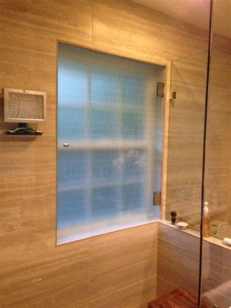 Bathroom Glass Door Cover by We Ended Up Leaving The Existing Vinyl Window In Place