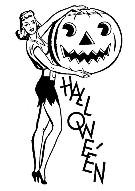 retro halloween clip art pretty lady  pumpkin