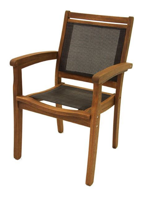 stack sling patio lounge chair outdoor interiors sling and eucalyptus stacking arm chair