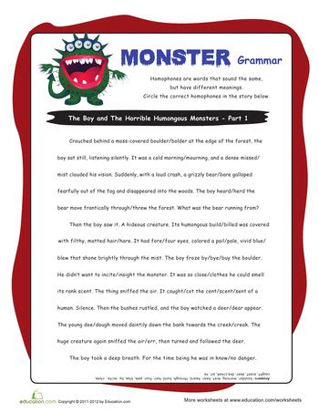 homophone story worksheet grammar worksheets grammar