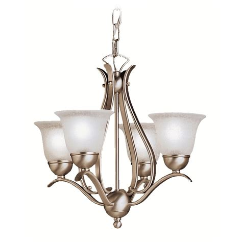 Mini Chandeliers by Kichler Mini Chandelier With White Glass In Brushed Nickel