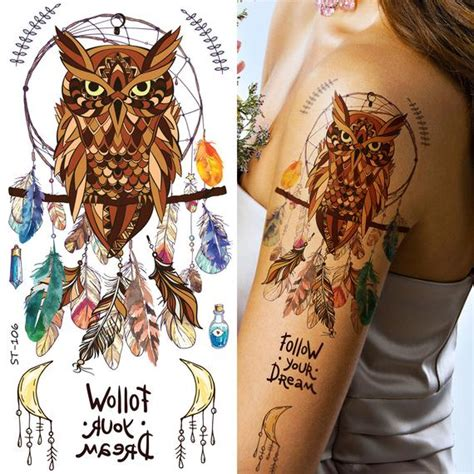 supperb temporary tattoos owl dream catcher feather etsy