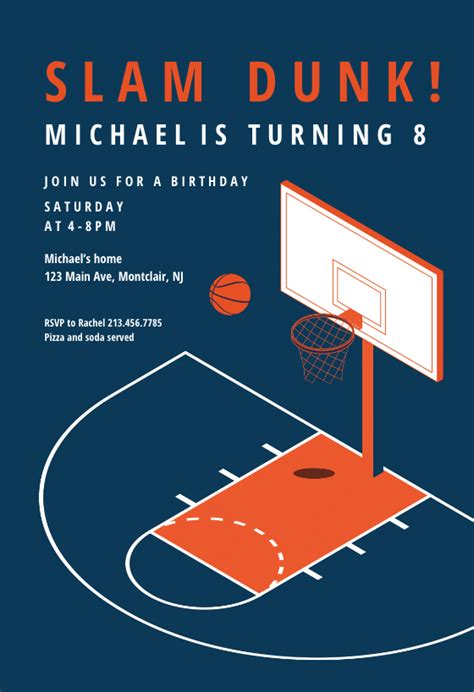 modern basketball sports games invitation template
