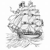 Ship Pirate Coloring Printable Boat sketch template